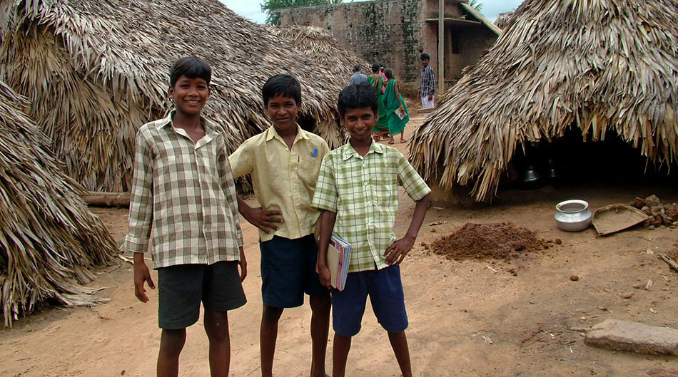 Boys who attend the Dalit village school